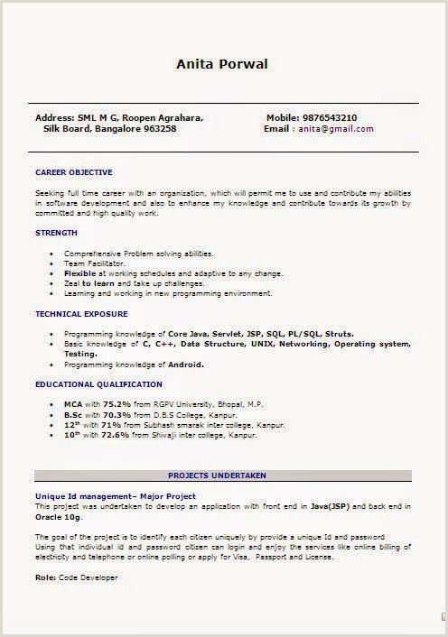 Mca Fresher Resume Format In .doc Examples Of Job Resumes Sample Template Example Ofexcellent