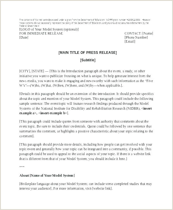 media release template word