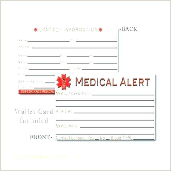 Medic Alert Card Template Emergency Card Template Printable Medical Alert Wallet E