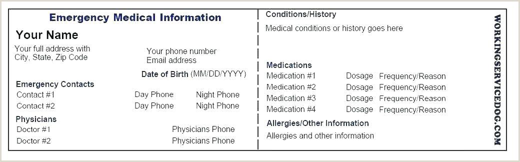 Medic Alert Card Template Sample Wallet Medical Card Template Download 8 Medication Id