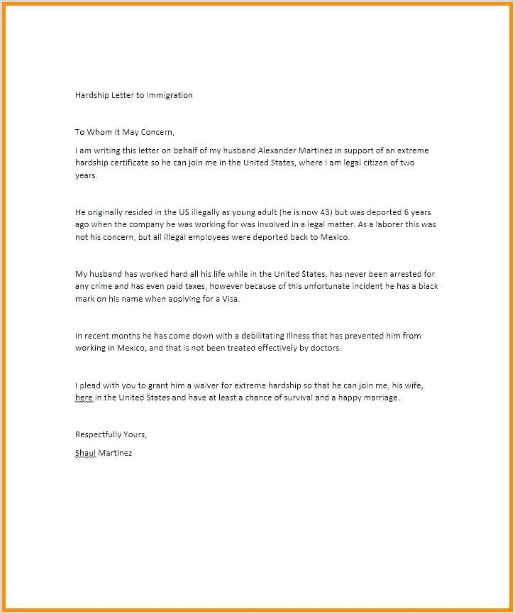 Medical Hardship Letter for Immigration Immigration Hardship Letter for A Friend Luxury Re Sample