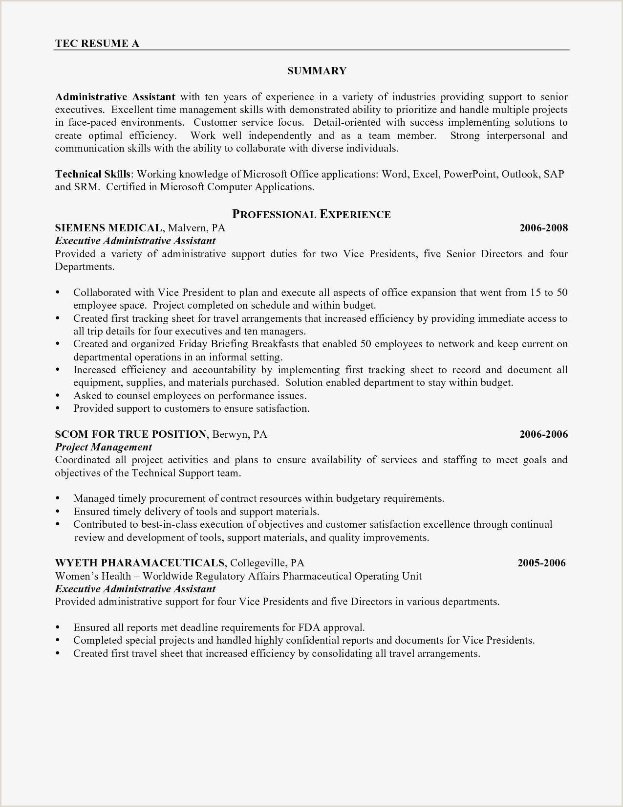 Administrative Assistant Resume Sample Pdf New Best Resume