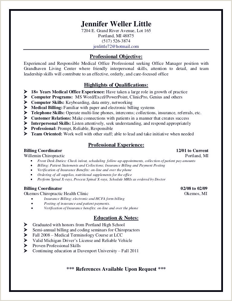 Awesome Chiropractic fice Manager Resume