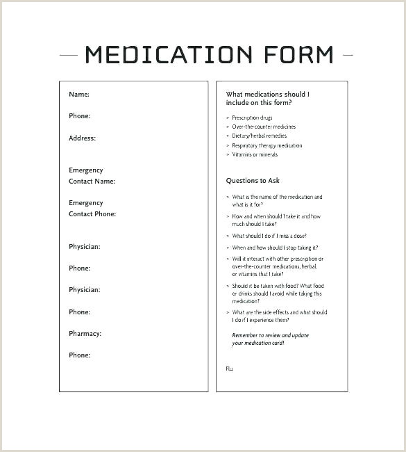Medication List form Wallet Size Emergency Contact Card Template