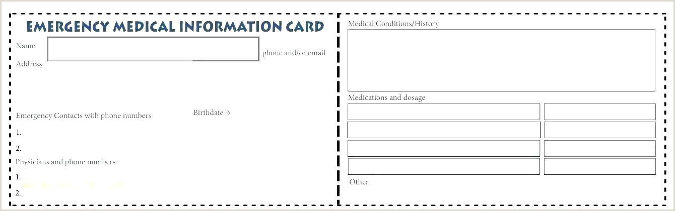 Medical Alert Wallet Card Template Luxury Medication List