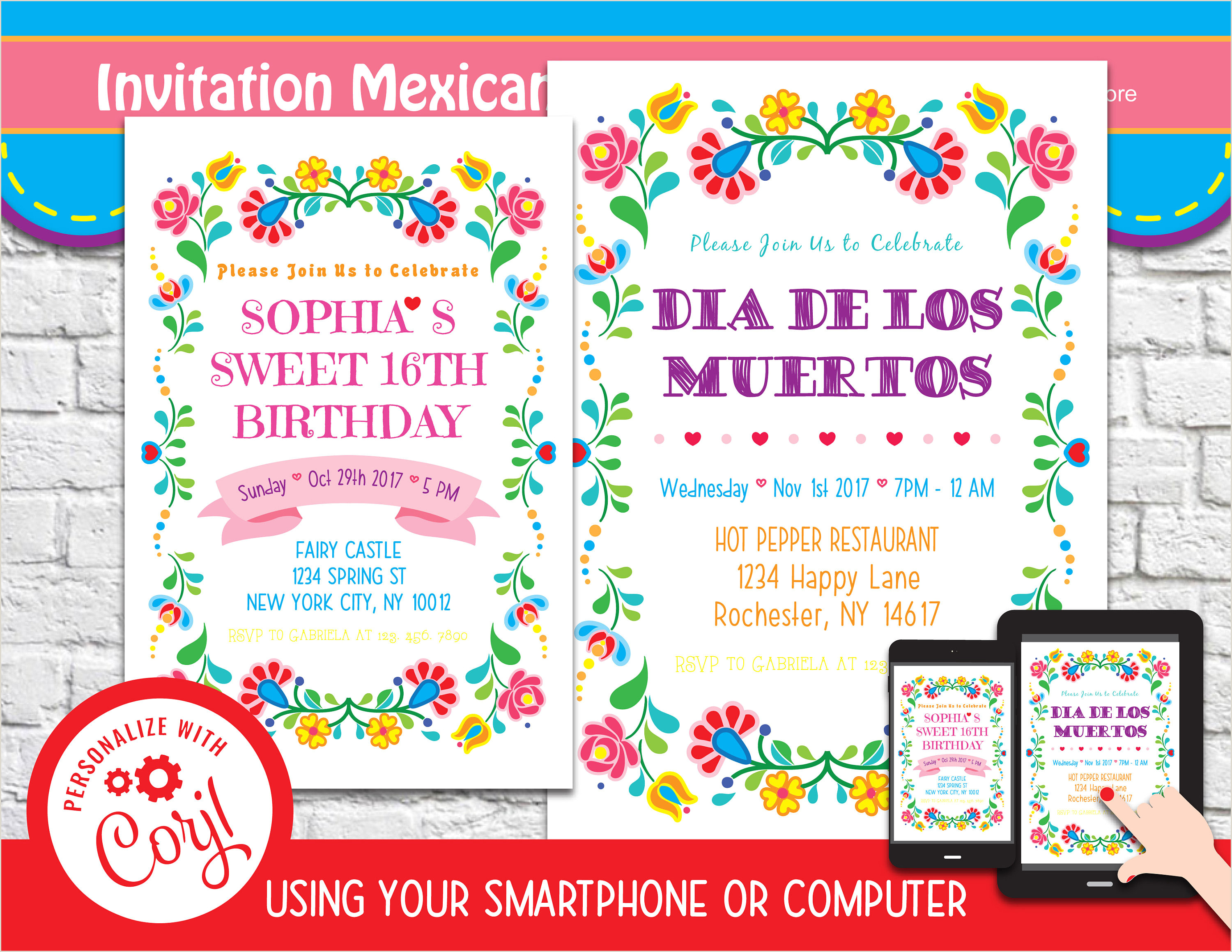 Mexican Party Invite Template Mexican Fiesta Invitation 4 Editable Template Instant Download Digital File