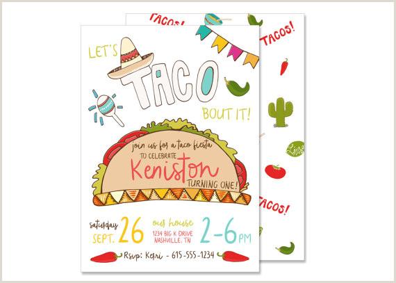 Taco Fiesta Birthday Invitation PRINTED Mexican Fiesta