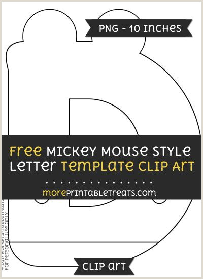 Free Mickey Mouse Style Letter D Template Clipart