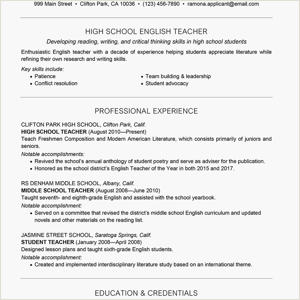 Middle School English Teacher Resume Teacher Resume Examples and Writing Tips