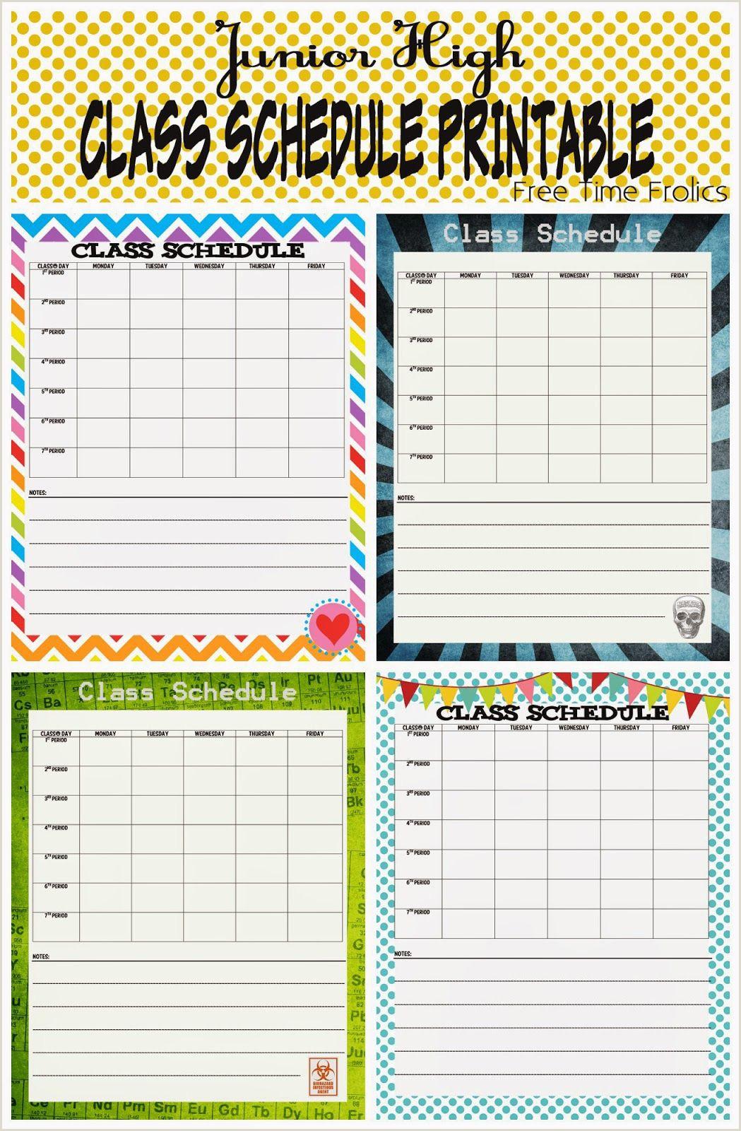 Middle School Planner Printable Junior High Class Schedule Printable
