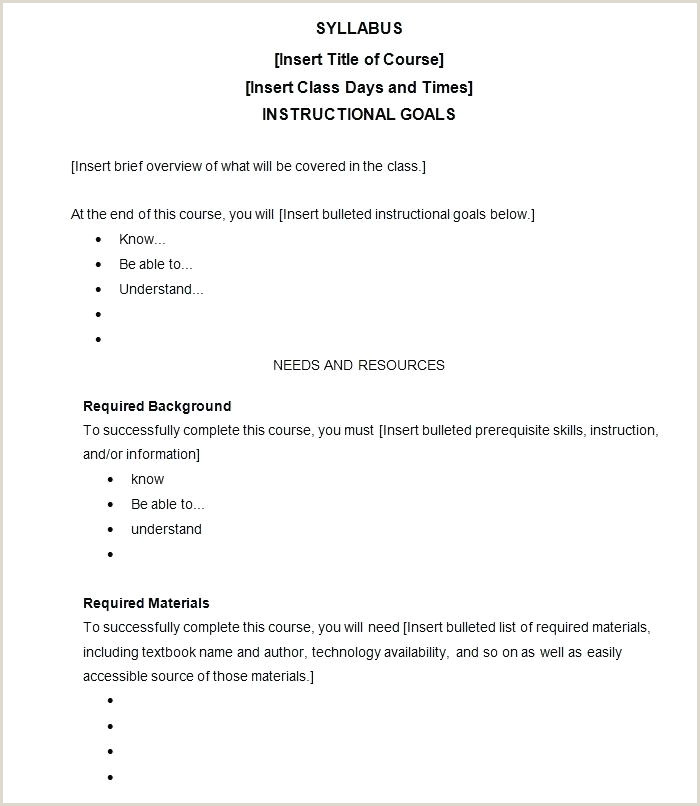 Course Syllabus Template Format Sample For Middle School