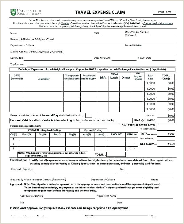 travel claim form template
