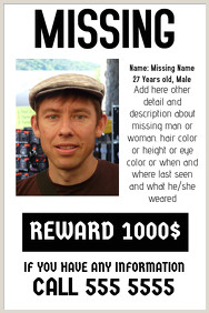 Missing Person Flyer Template Customize 200 Wanted Templates