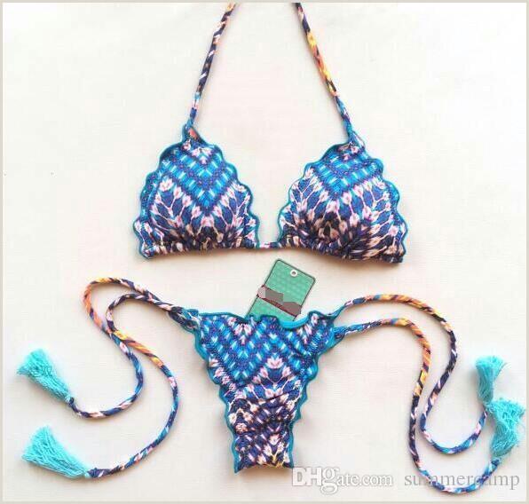 2019 Pa±o de verano Nuevo estilo brasile±o Bikinis Blue Print Halter traje de ba±o vendaje Backless y Beach Bikinis envo gratis