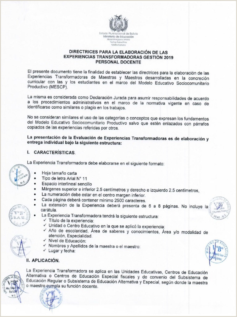Directrices Experiencias Transformadoras 2019 Docente pdf