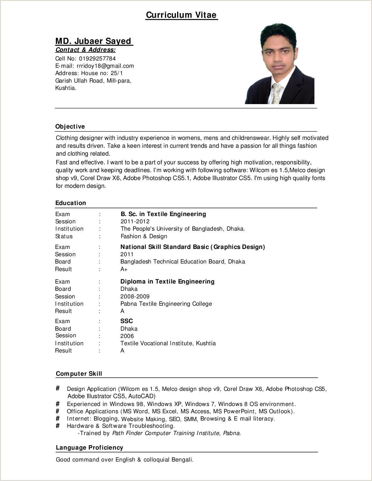 10 Sample Cv For Job Application Pdf Basic Job Appication