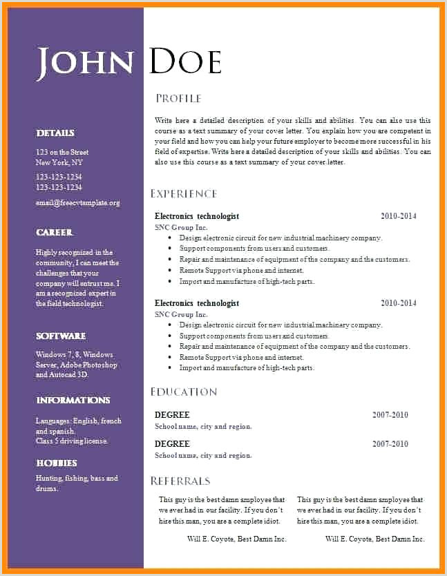 Free Resume Templates Professional Cv Format Download Best