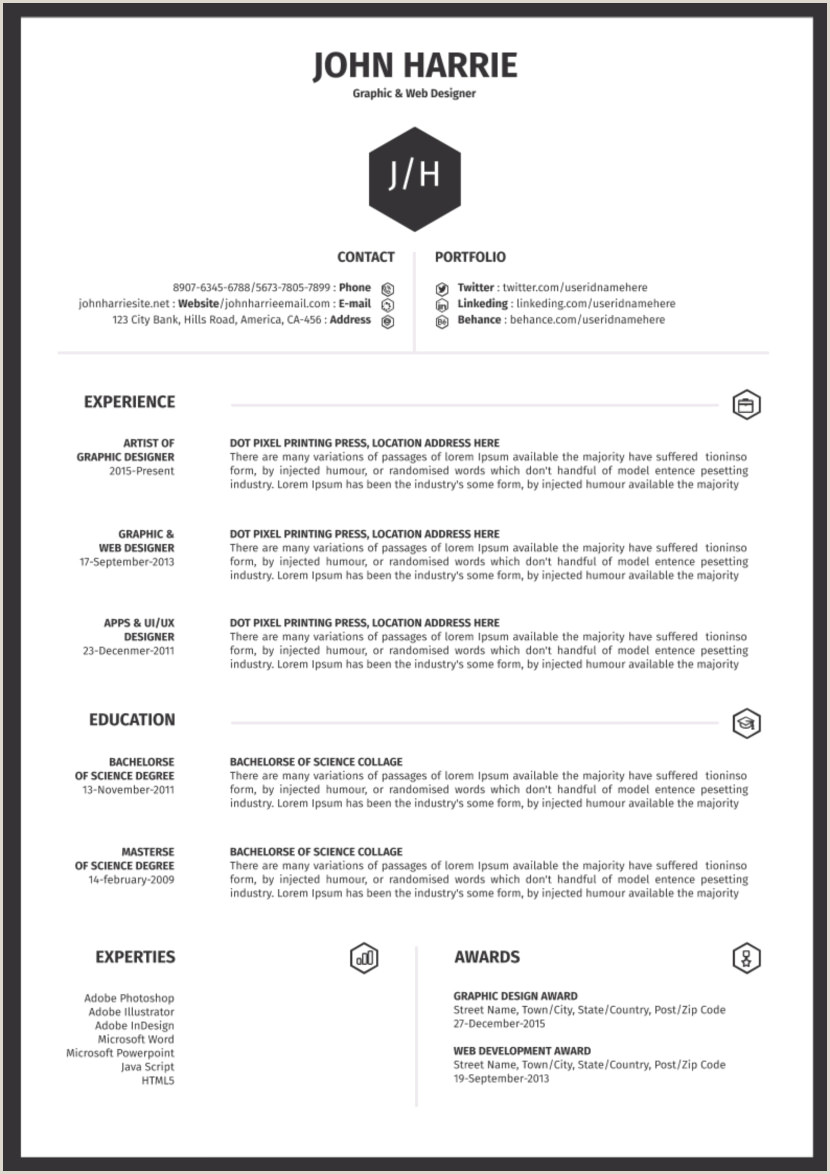45 Modern Cv Minimalist Simple & Clean Design Word 33