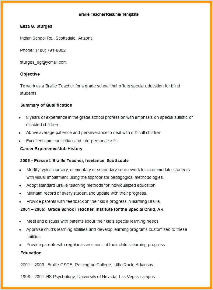 Resume Format 6 Fresher Teacher Cv Template Pdf Download