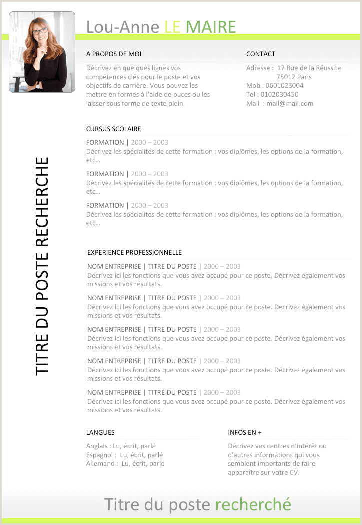 Modern Cv format Free Exemple De Cv Open Office Gratuit   Télécharger