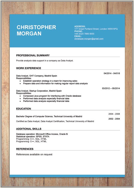 Free Modern Resume Templates Word Download Resume Resume
