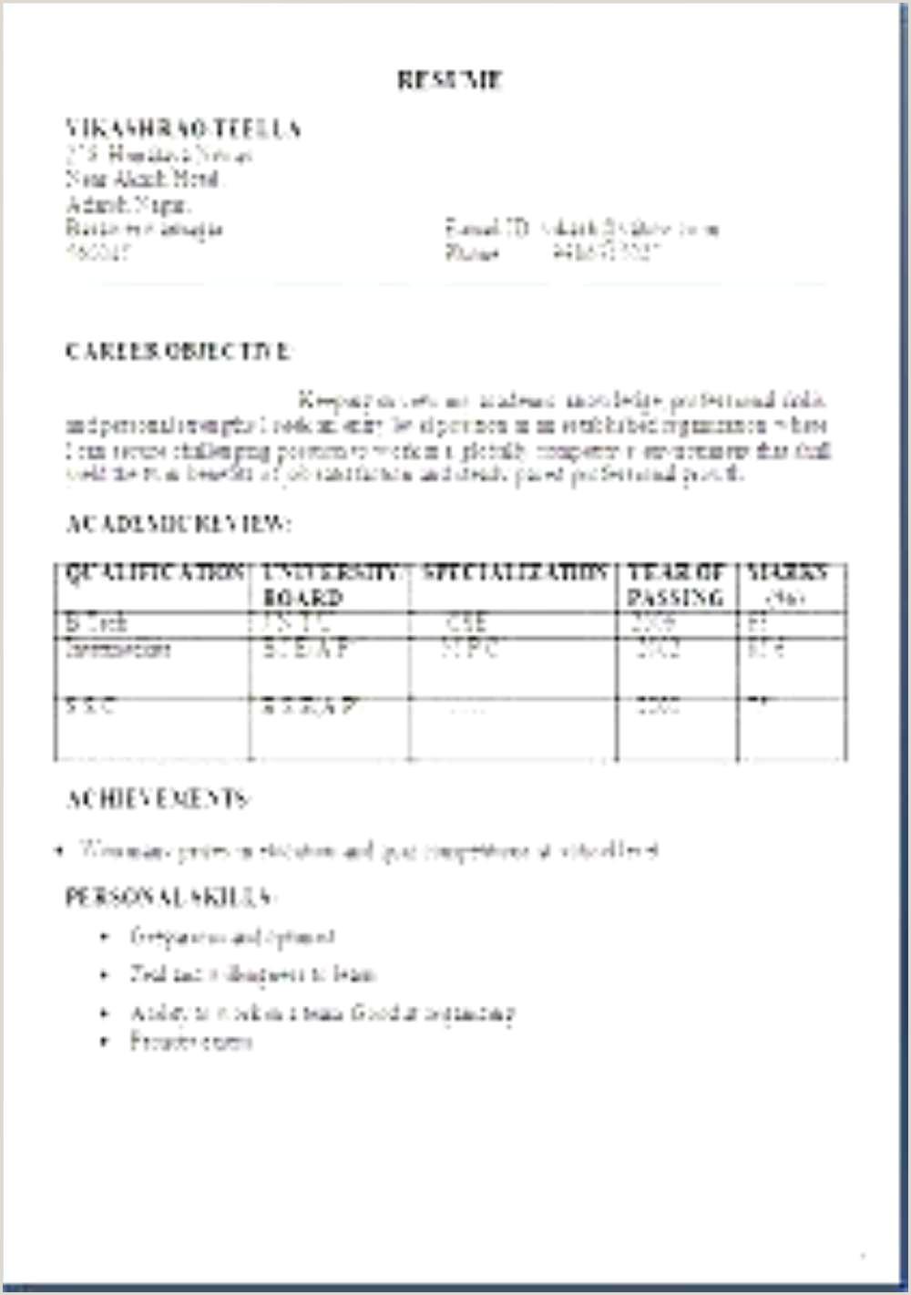 Professional Resume Formats Free Download Biodata Format