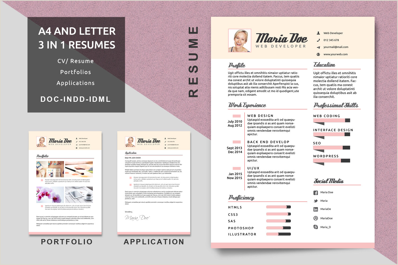 A4 Letter Resume Templates Modern Resume CV Template Application Portfolio Resume Job Resume Creative Resume Modern Resume