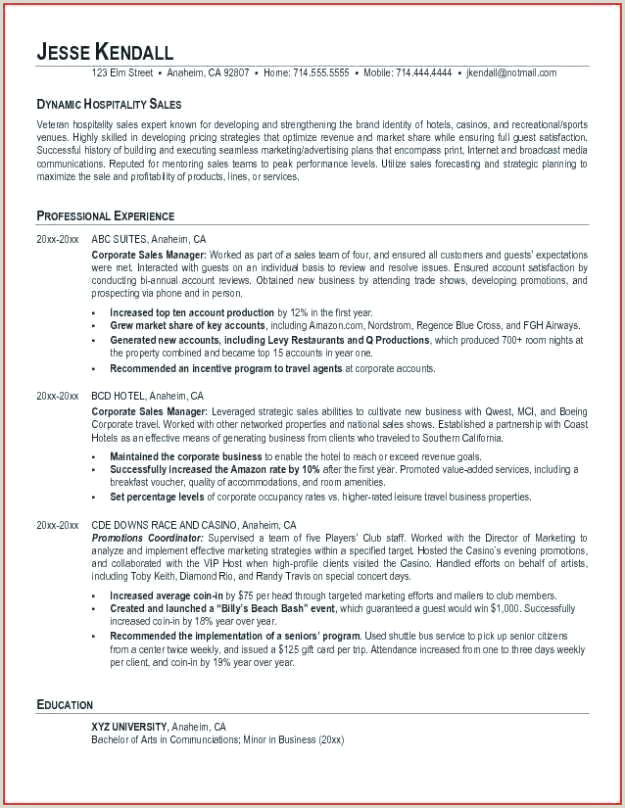 Resume Template For Hospitality Example A Manager Cv Nz