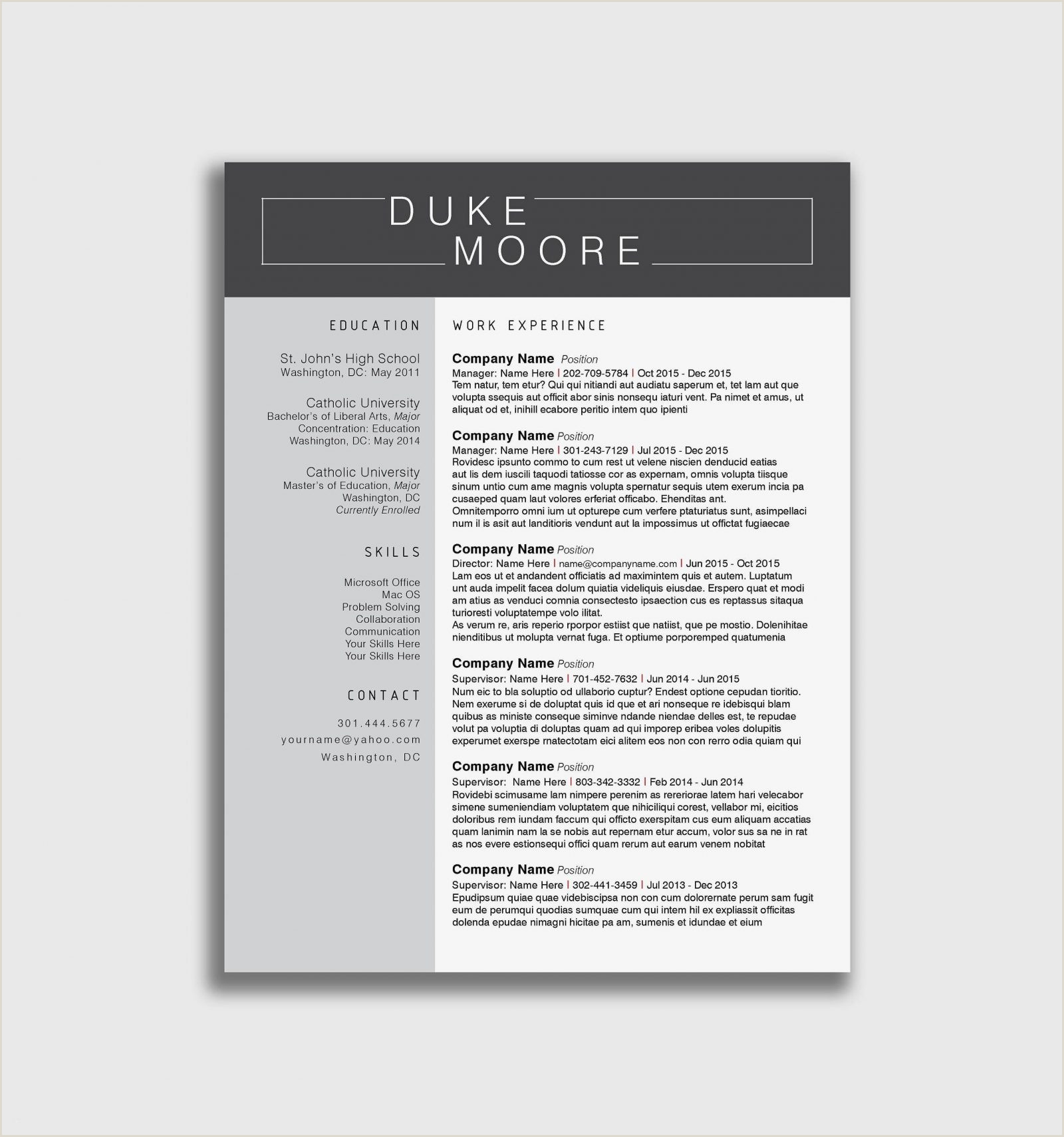 Modern Cv format Uk Resume Template for Ms Word Cv with Free Cover Etsy Line
