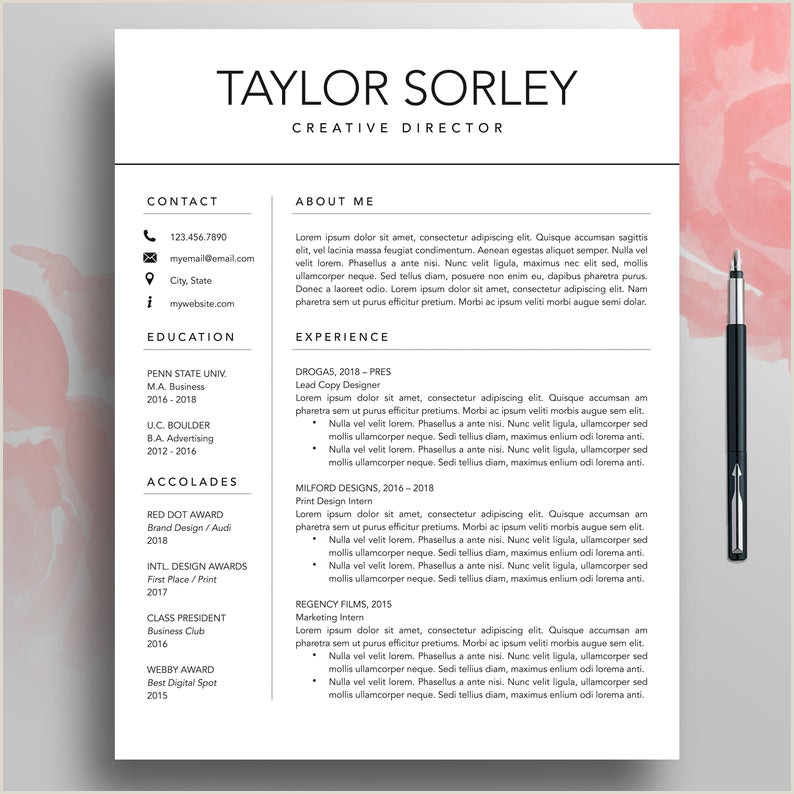 Modern Resume CV Template 3 Page Minimalist Resume Simple Resume Mac Professional Resume Template Word Creative Resume Pages Download