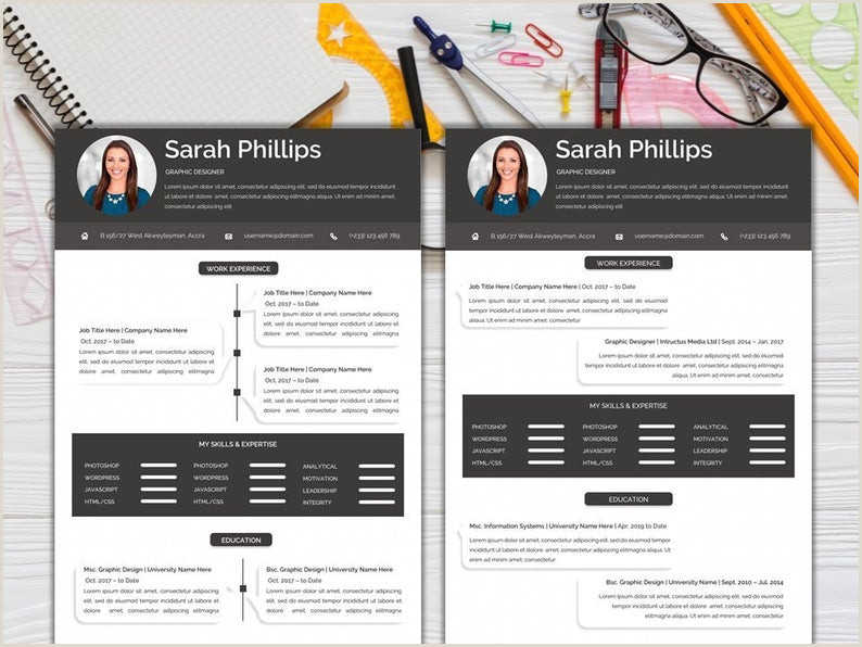 Mod¨le de CV Design épuré et moderne Lettre de motivation A4 et format lettre US