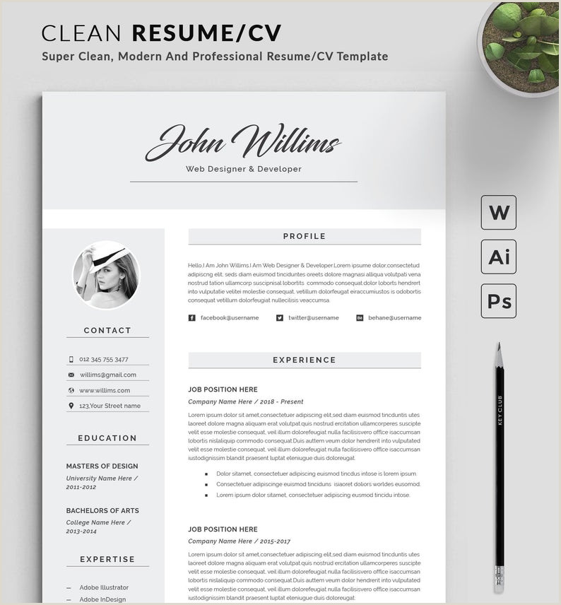 Resume Template Modern & Professional Resume Template for Word