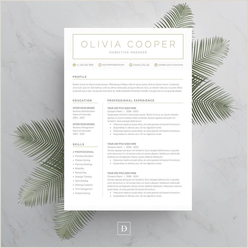 Modern Cv Sample Word Modern Resume Template 4 Page Cv Template Cover Letter for Ms Word Instant Digital Download