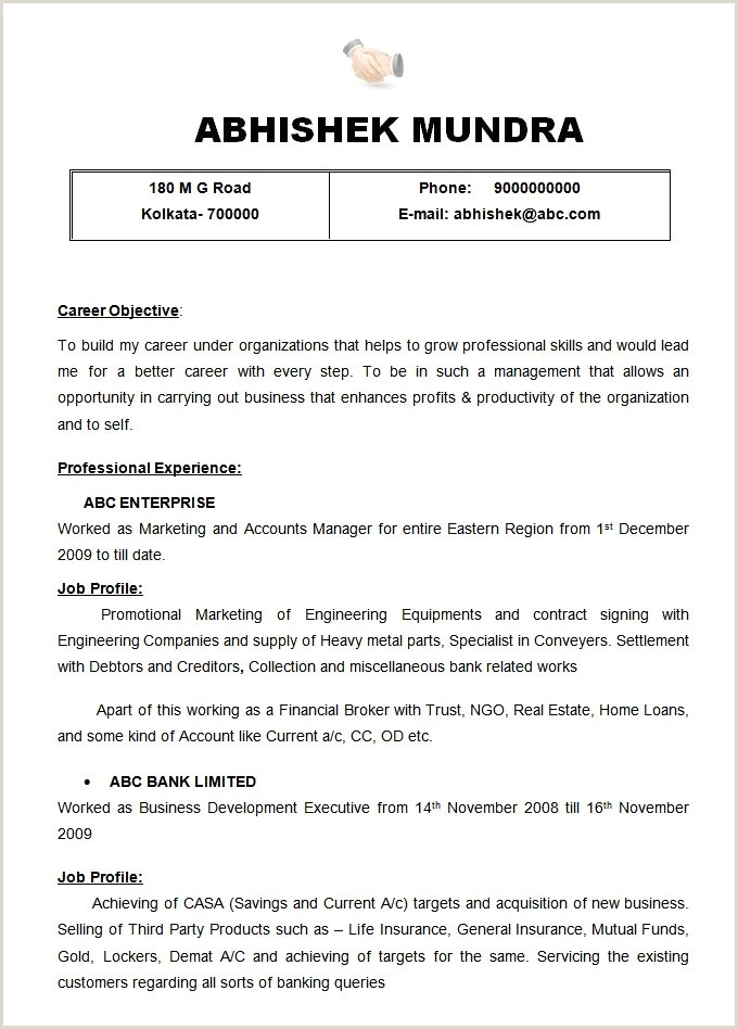Modern Day Cv format 10 Indian Teacher Resume format