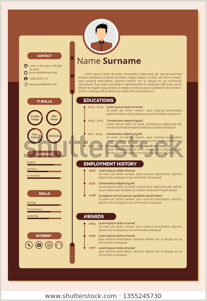 Modern Resume Template Design Cv Template Stock Vector
