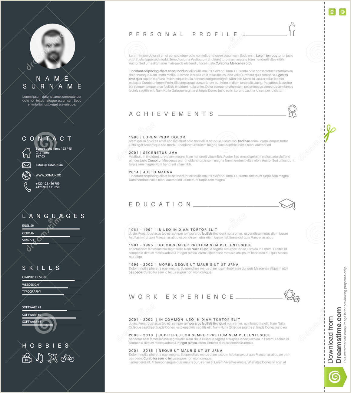 Minimalist Resume Cv Template With Nice Typography Stock