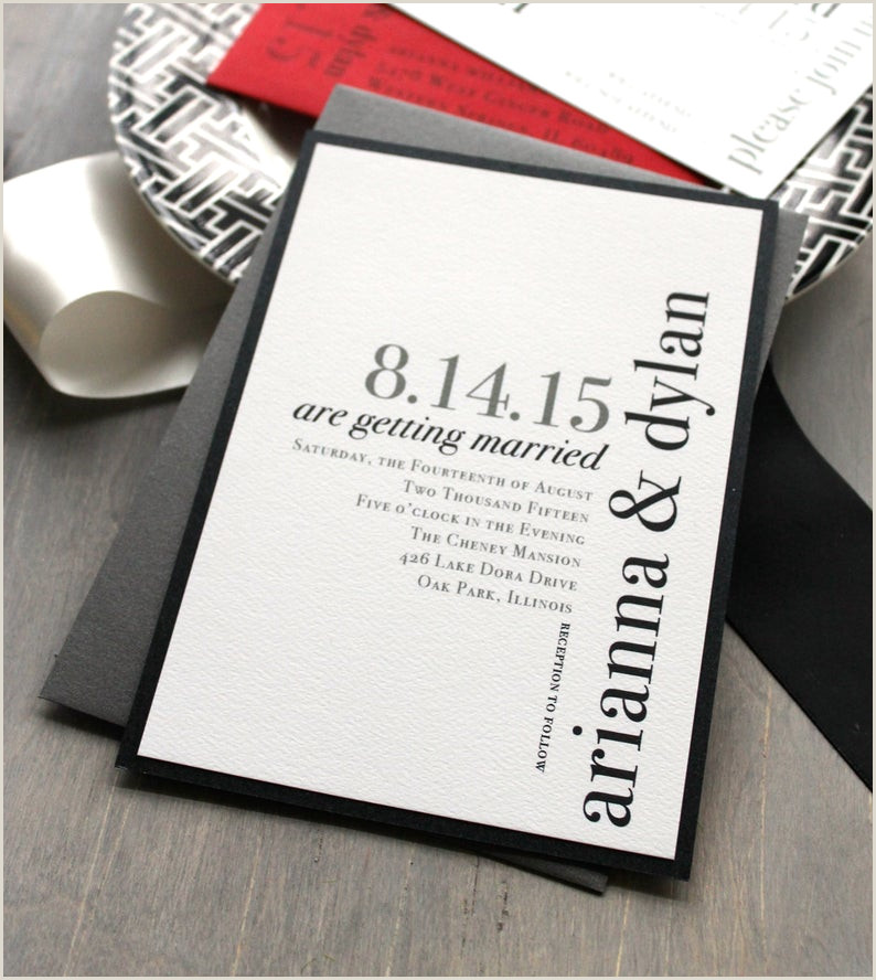 "Modern Wedding Programs Wording Modern Wedding Invitations Wedding Invitation Urban Chic Wedding Invitations Black White and Red ""urban Elegance"" Sample"
