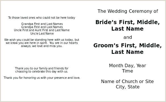 Wedding Program Wording Examples Great ficiants Free