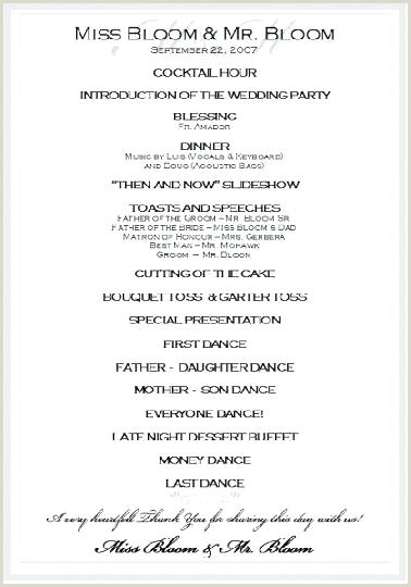Wedding Reception Programs Wording Sample Program Examples