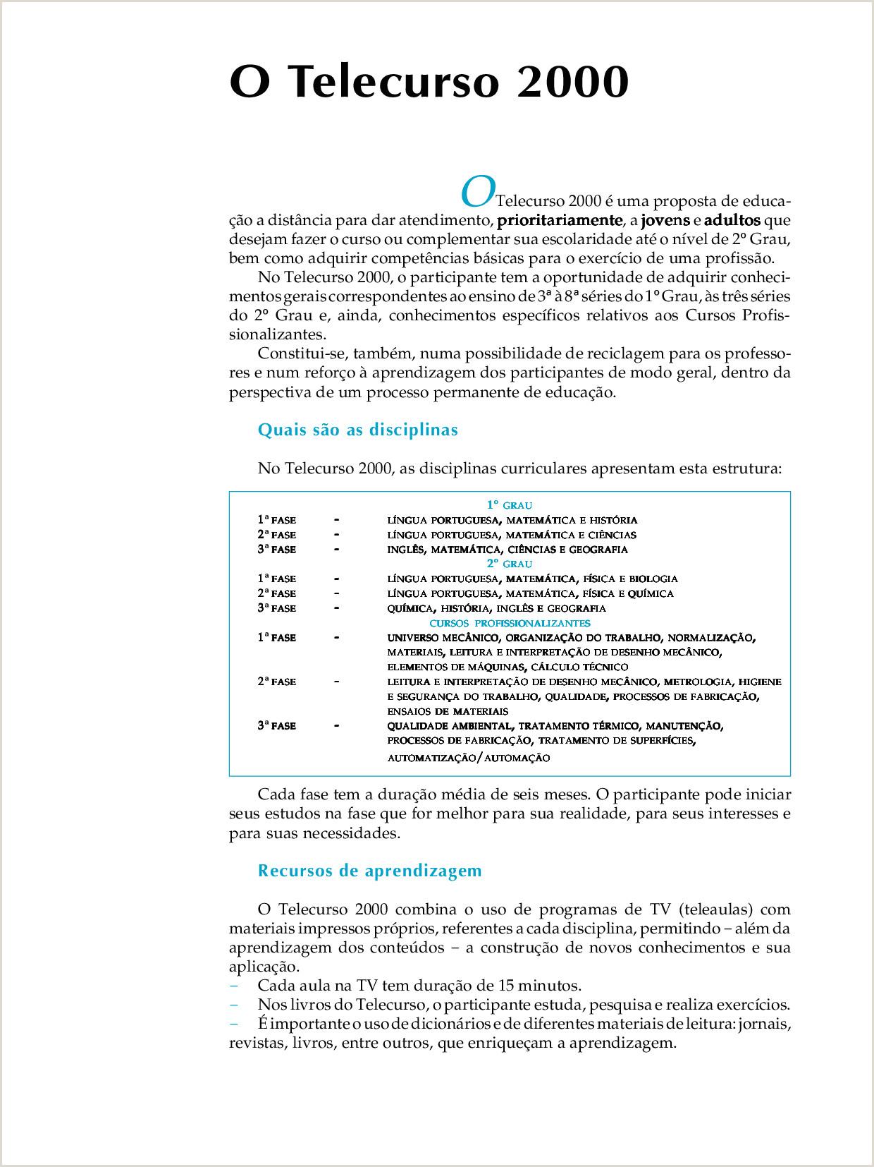 Montar Curriculo Simples Matemática Pleta O Telecurso 2000 é Uma Proposta De