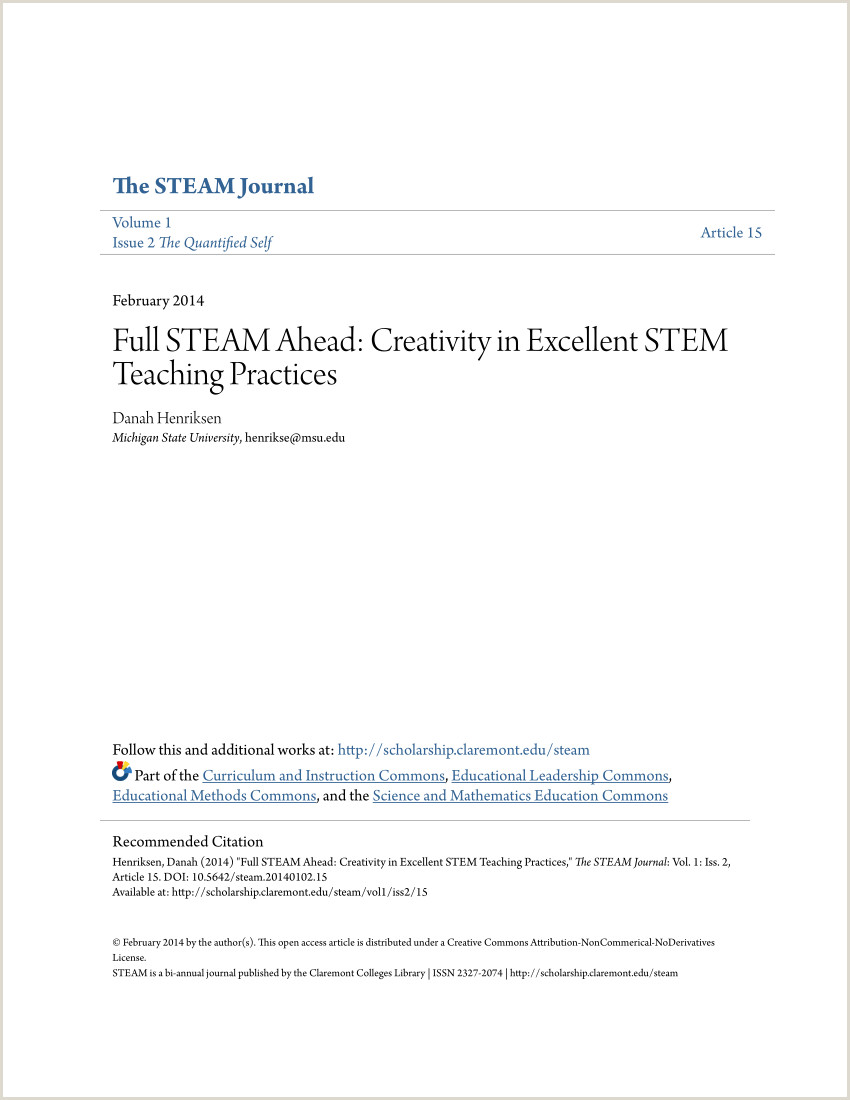 Montar Curriculo Simples Pdf Full Steam Ahead Creativity In Excellent Stem Teaching