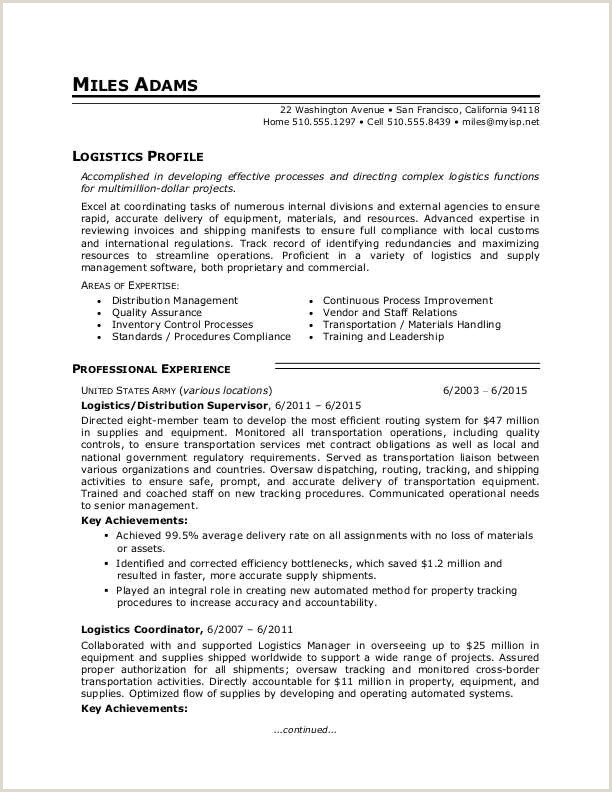 Logistics Resume Sample