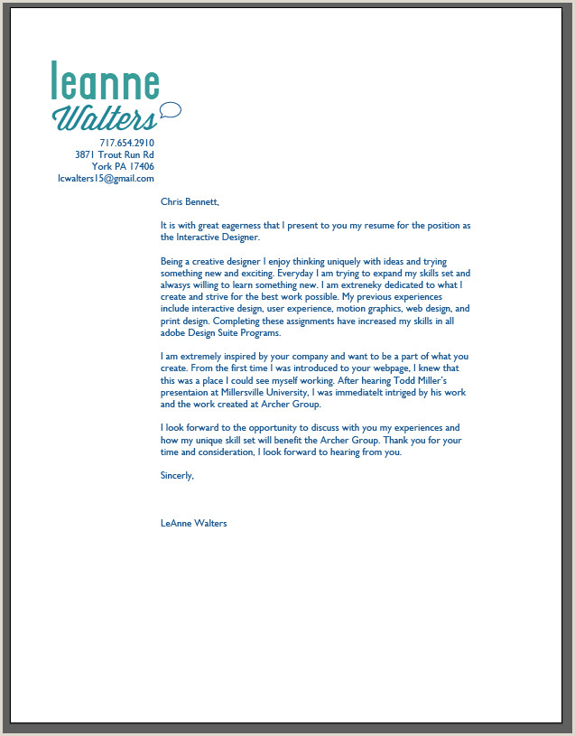 Cover Letter For Graphic Design Resume Graphic Designer