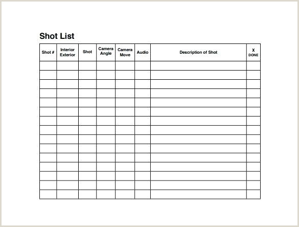 Media Shot List Video Template Shoot – piazzola