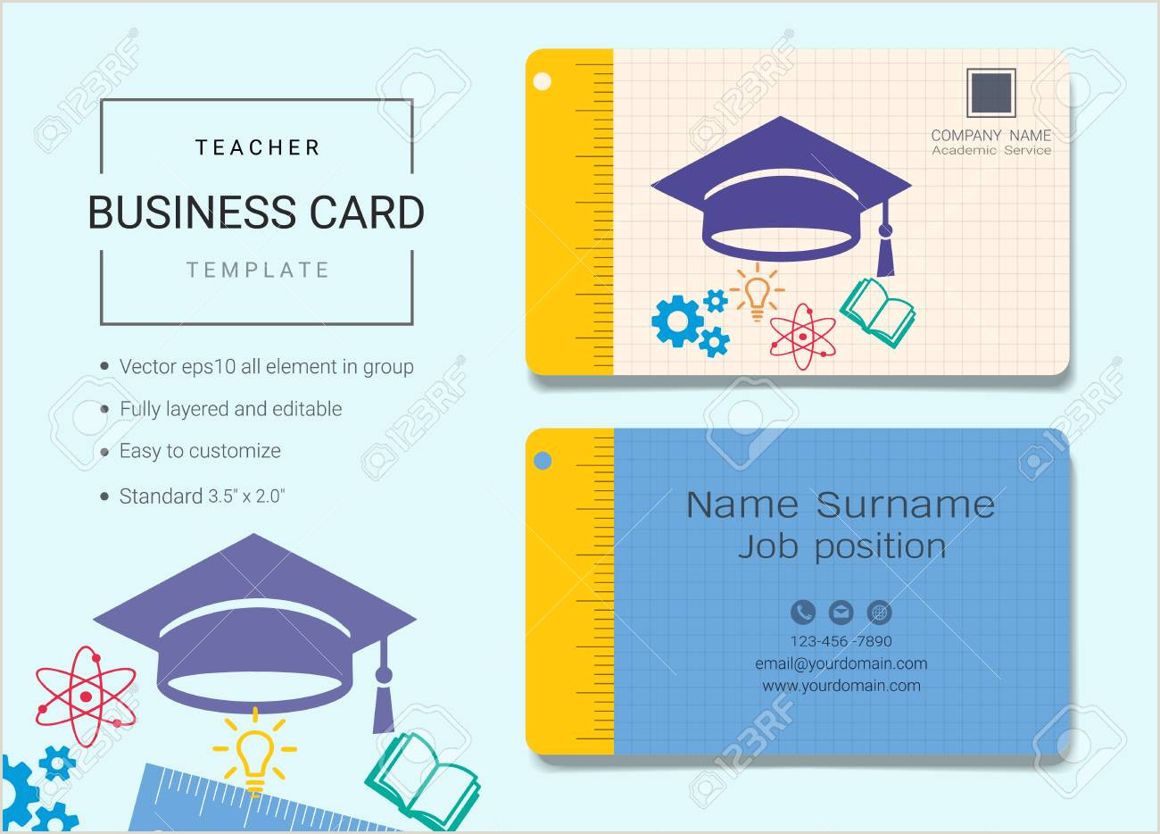 Music Business Cards Templates Free Teacher Business Card or Name Card Template Simple Style Also