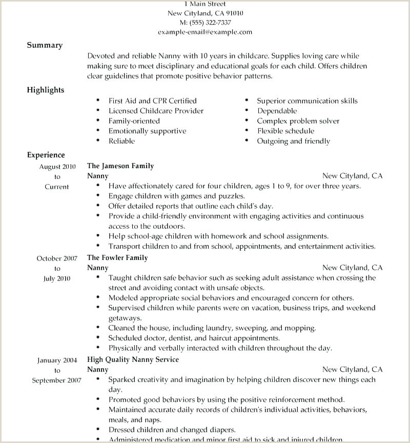 nanny sample resume – airexpresscarrier