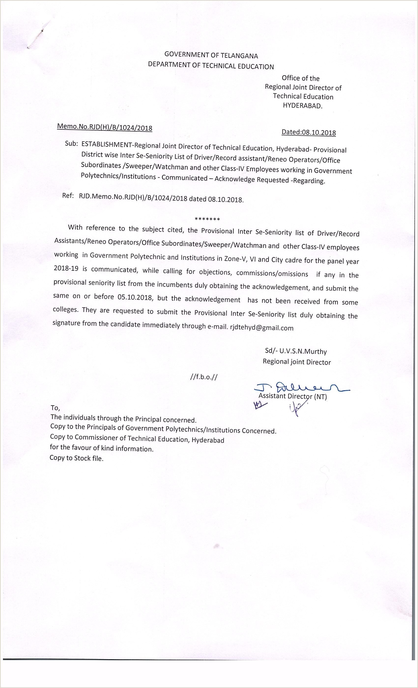 Navy Letter Of Instruction Template Dte Department Of Technical Education Telangana