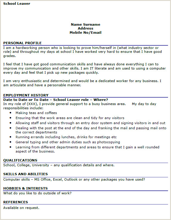 New Standard Cv format Image Result for Cv Example School Leavers Uk Cv