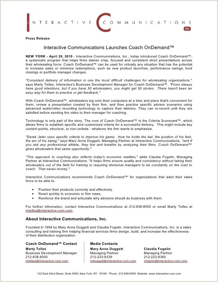 Coach od press release