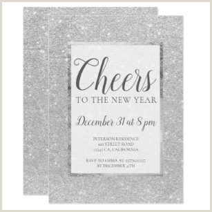 Faux silver glitter New years Eve Invitation